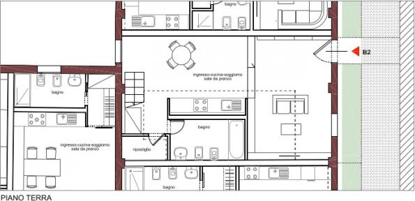 Rio Terà dei Pensieri, map of a housing unit, ground floor | C and C